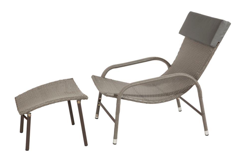Chaise longue et ottoman Ariel en osier frêne brun, coussin gris foncé