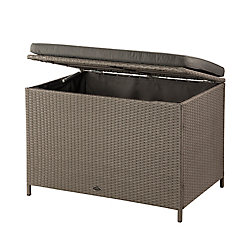 Patioflare Ferrara 10.6 cu. ft. Wicker Deck Box in Ash Brown with Dark Grey Cushion