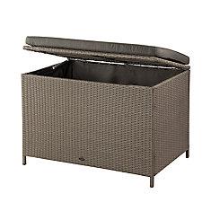 Ferrara 10.6 cu. ft. Wicker Deck Box in Ash Brown with Dark Grey Cushion