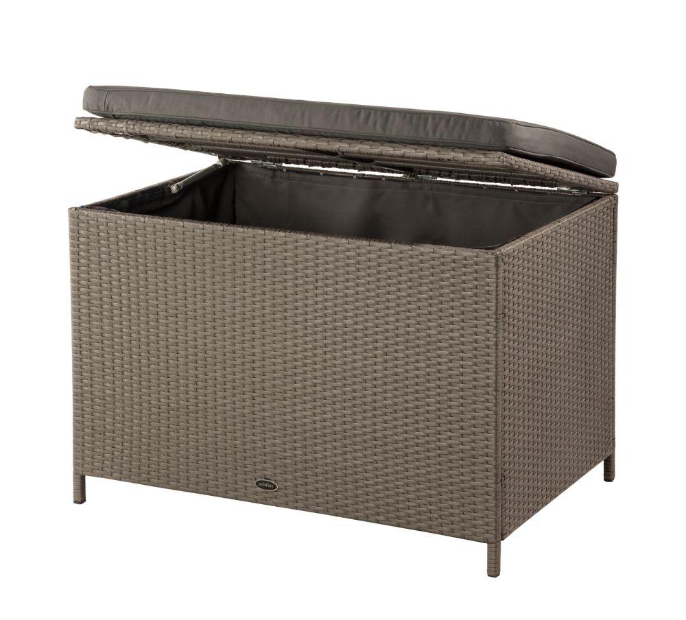 Boîte de rangement/banc de terrasse imperméable Ferrara en osier frêne brun et coussin gris foncé