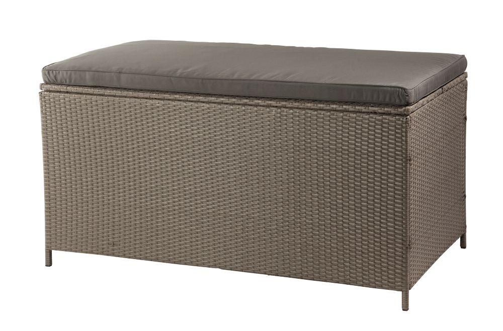 Patio Flare Tuck Wicker Deck Box in Ash Brown Wicker with Dark Grey Cushion