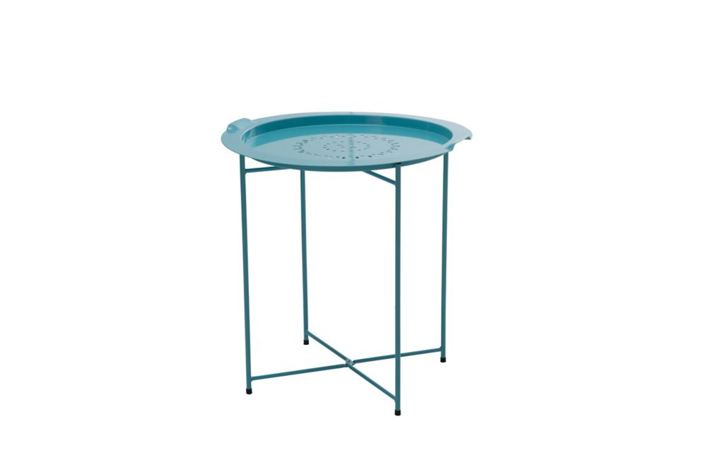Side Table with Removable Tray in Turquoise