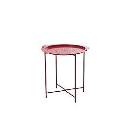 Sunjoy Side Table avec plateau amovible en rouge