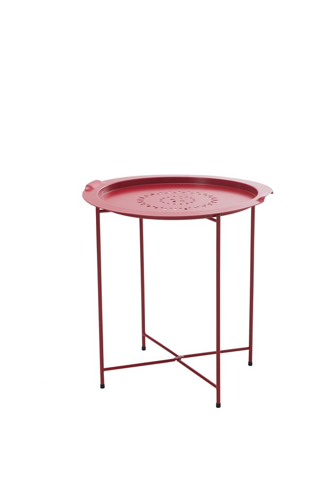 Patio Side Table With Removable Tray In Red