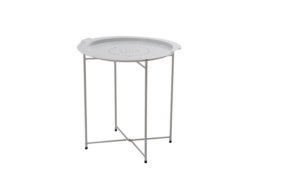 Side Table with Removable Tray in White