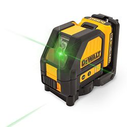 DEWALT 12V MAX Li-Ion 165 ft. Green Self-Leveling Cross-Line Laser Level with Battery 2Ah, Charger, & Case
