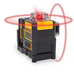 DEWALT 150 pi. Niveau laser rouge autonivelant 2 x 360 degrés avec (4) piles AA et étui