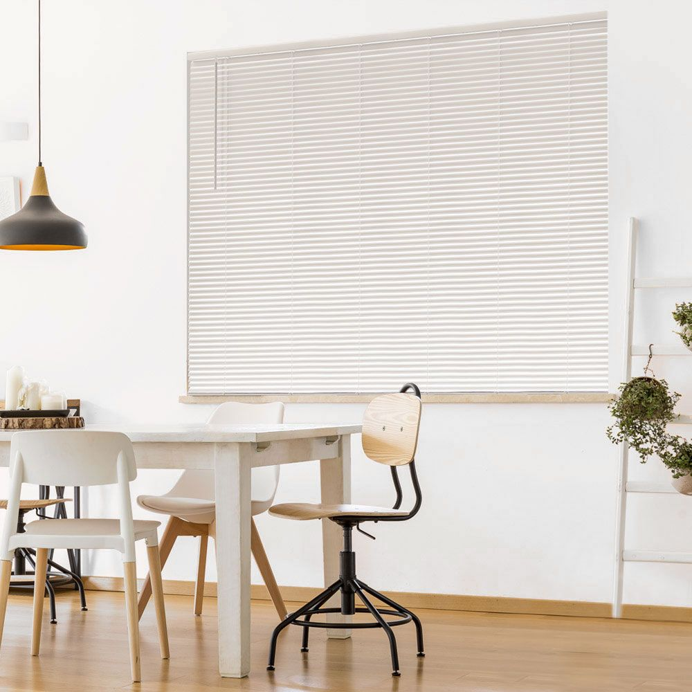Hampton Bay Cordless 1 3/8-inch Room Darkening Vinyl Cut Blinds White 72-inch x 72-inch (Actual width 71.625-in)