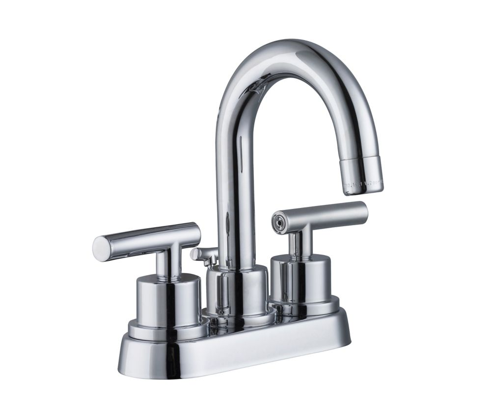 GLACIER BAY Dorset 4-Inch Centerset 2-Handle Mid Arc Bathroom Faucet with Lever Handles in Chrome