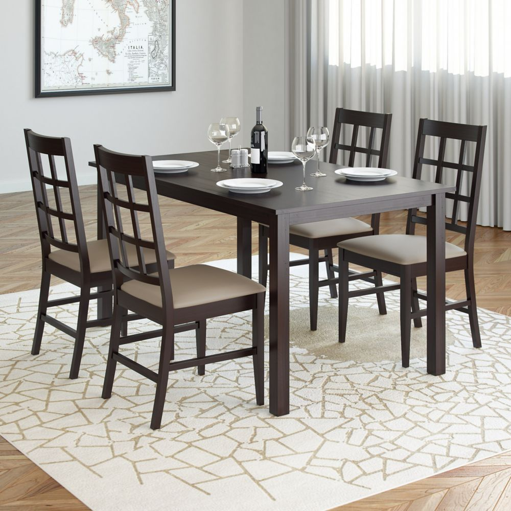 Atwood 5pc Dining Set, With Taupe Stone Leatherette Seats