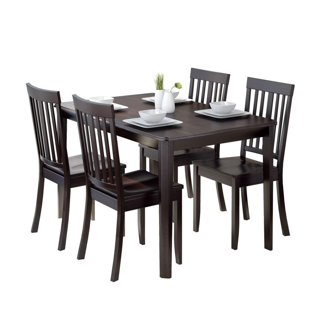 Ensemble de salle à manger 5p. avec chaises couleur cappuccino
