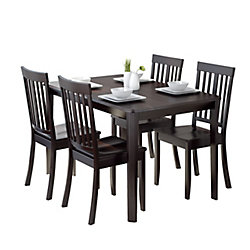 Corliving Atwood 5-Piece Dining Set, With Cappuccino Stained Chairs