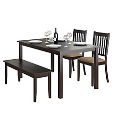 Atwood 4-Piece Dining Set, With Cappuccino Stained Bench And Set Of Chairs