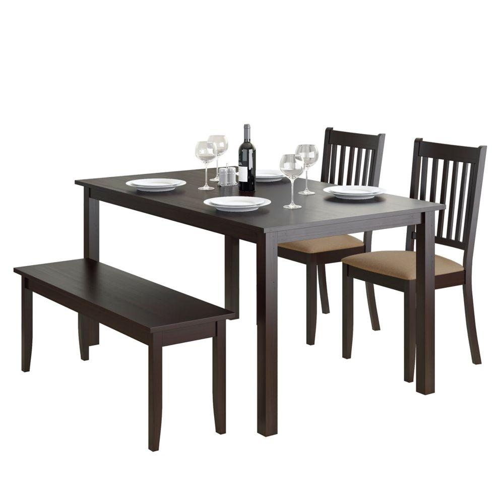 Ensemble de salle à manger 4p. avec banc et chaises couleur cappuccino