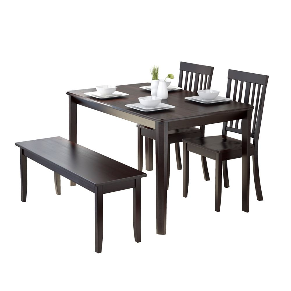 Atwood 4pc Dining Set, With Cappuccino Stained Bench And Set Of Chairs