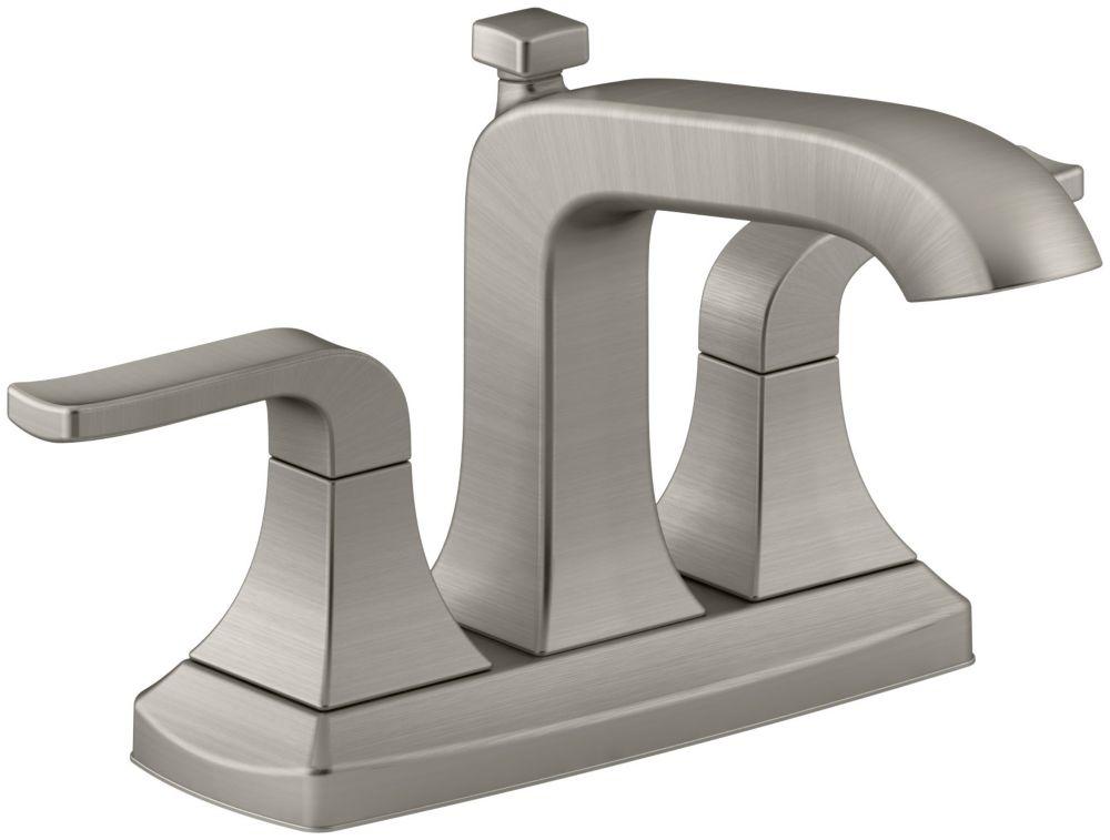Robinet de lavabo de salle de bain traditionnel de 4po (10cm) à deux poignées Rubicon de fini n...
