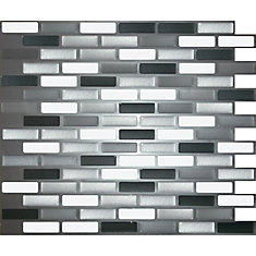 GLASS GREY OBLONG Peel and Stick-It Tile 11 X 9.25 Inch Value 4 PACK