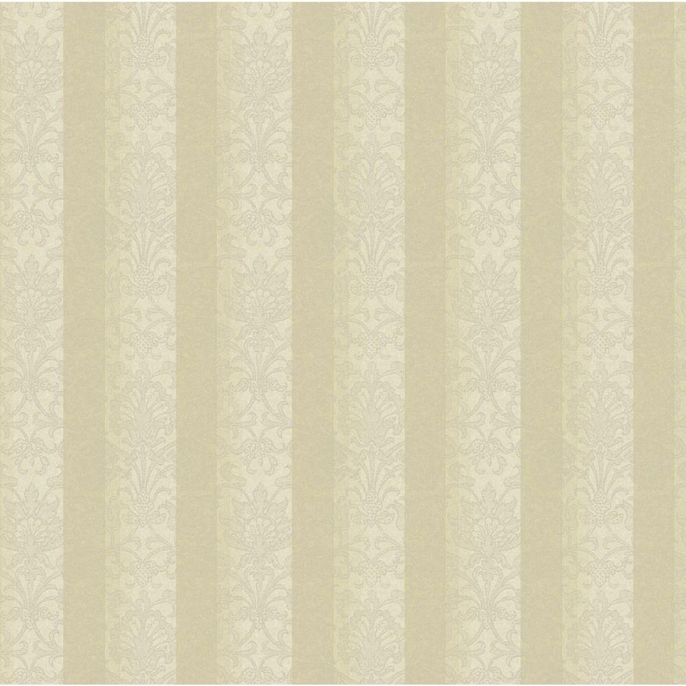 Saint Augustine Metallic Stripe Damask Wallpaper