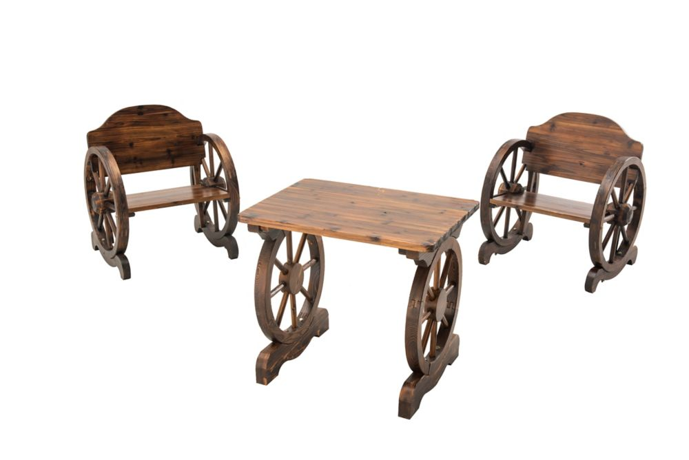 Banning Wood Wheels Bistro Set