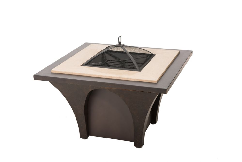 Hampton Bay Round Outdoor Fire Pit Table | The Home Depot Canada