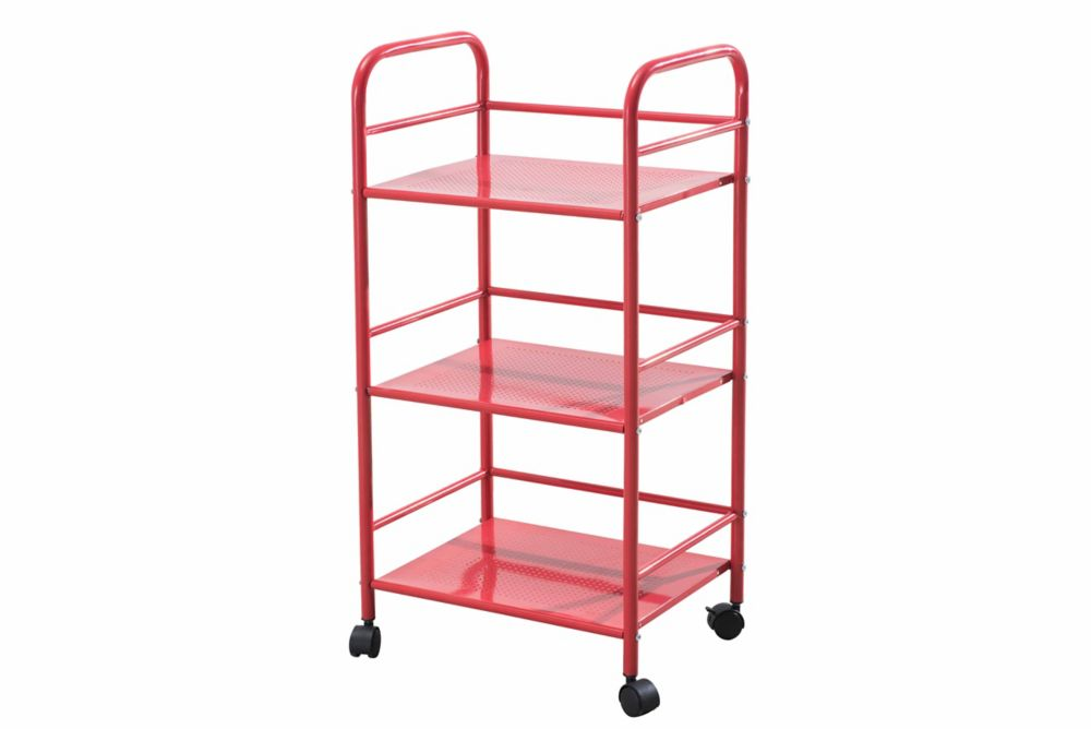 3 Tiered Metal Shelving with Wheels in Red