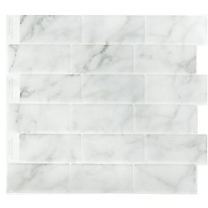 MARBLE GREY SUBWAY Peel and Stick-It Tile 11 X 9.25 Inch Value 4 PACK