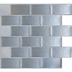 BRUSHED STEEL Peel and Stick-It Tile 11X9.25 Inch Value 4 PACK