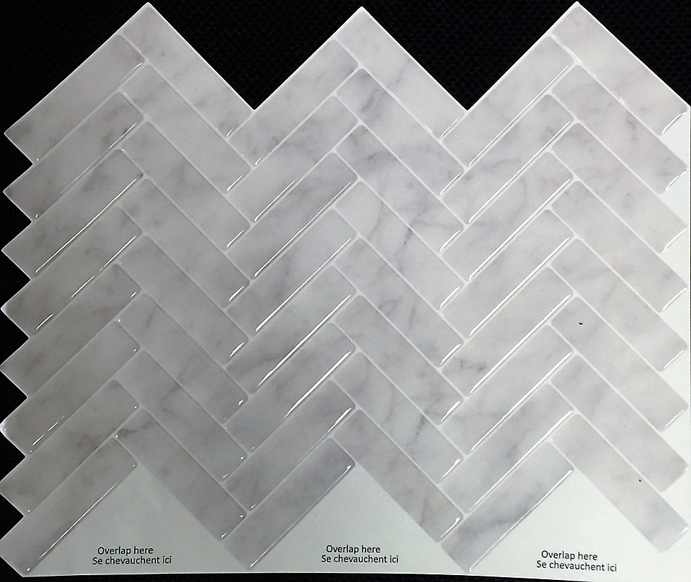 GREY MARBLE HERRINGBONE Peel and Stick-It Tile 11 X 9.25 Inch Value (4-Pack)