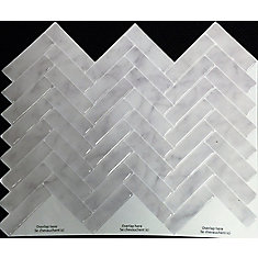 GREY MARBLE HERRINGBONE Peel and Stick-It Tile 11 X 9.25 Inch Value 4 PACK