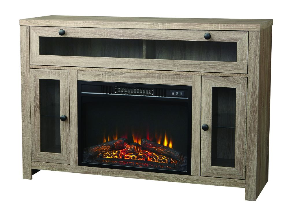 Laurelcrest 48 Inch Paper Laminate Media Fireplace Console In  Weathered Oak  Finish With 23 Inch...