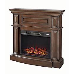 Hampton Bay 38-inch Electric Fireplace with Wooden Media Mantle in Dark Brown Finish