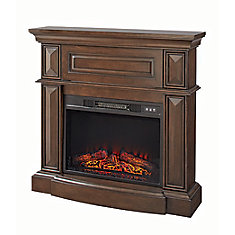 38-inch Electric Fireplace with Wooden Media Mantle in Dark Brown Finish