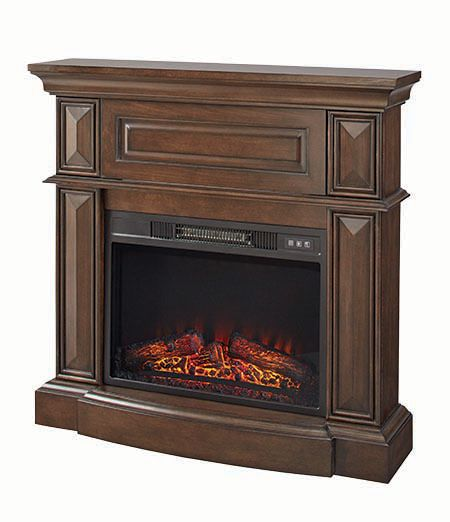 Hampton Bay 38 Inch Media Wooden Fireplace Mantle In Dark Brown Finish With 23ch In Coil Insert