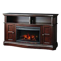 Glenrae 58 Inch Media Wooden Fireplace Console In Medium Brown Finish With 26 Inch Bow Front Coil Insert