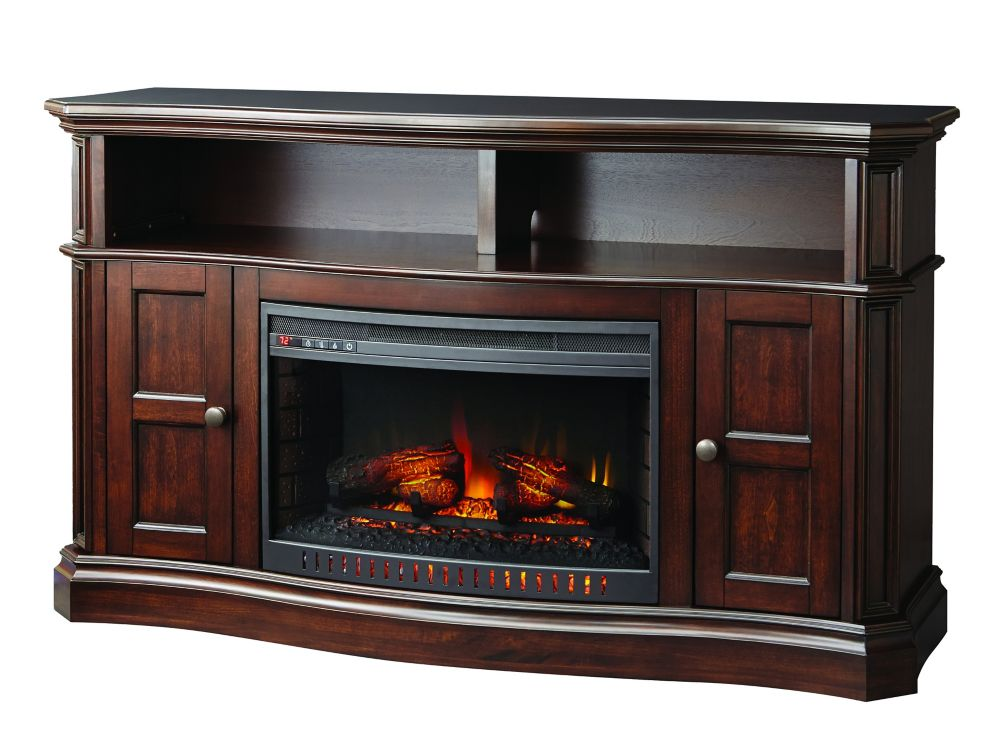 Glenrae 58 Inch Media Wooden Fireplace Console In Medium Brown Finish With 26 Inch Bow Front Coil...