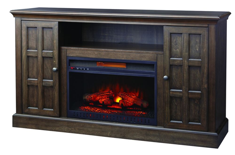 Olivehurst 60 Inch Media Wooden Fireplace Console In  Brown Twilight Gray Finish With 26 Inch Str...