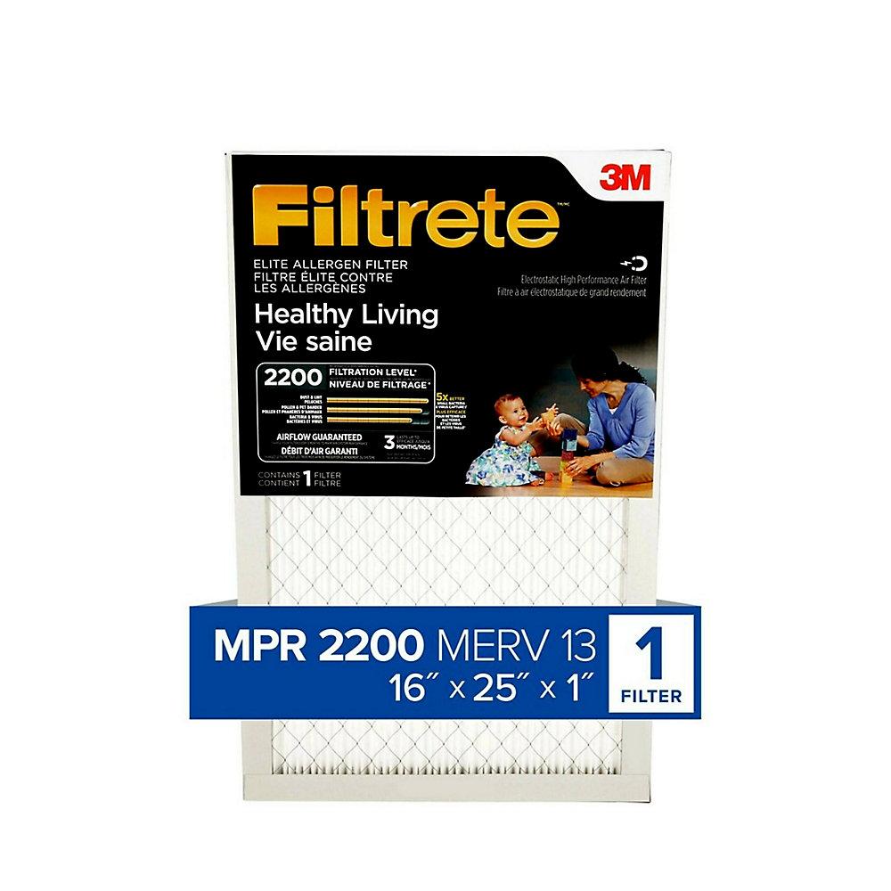16-inch x 25-inch x 1-inch Healthy Living MPR 2200 Elite Allergen Filtrete Furnace Filter