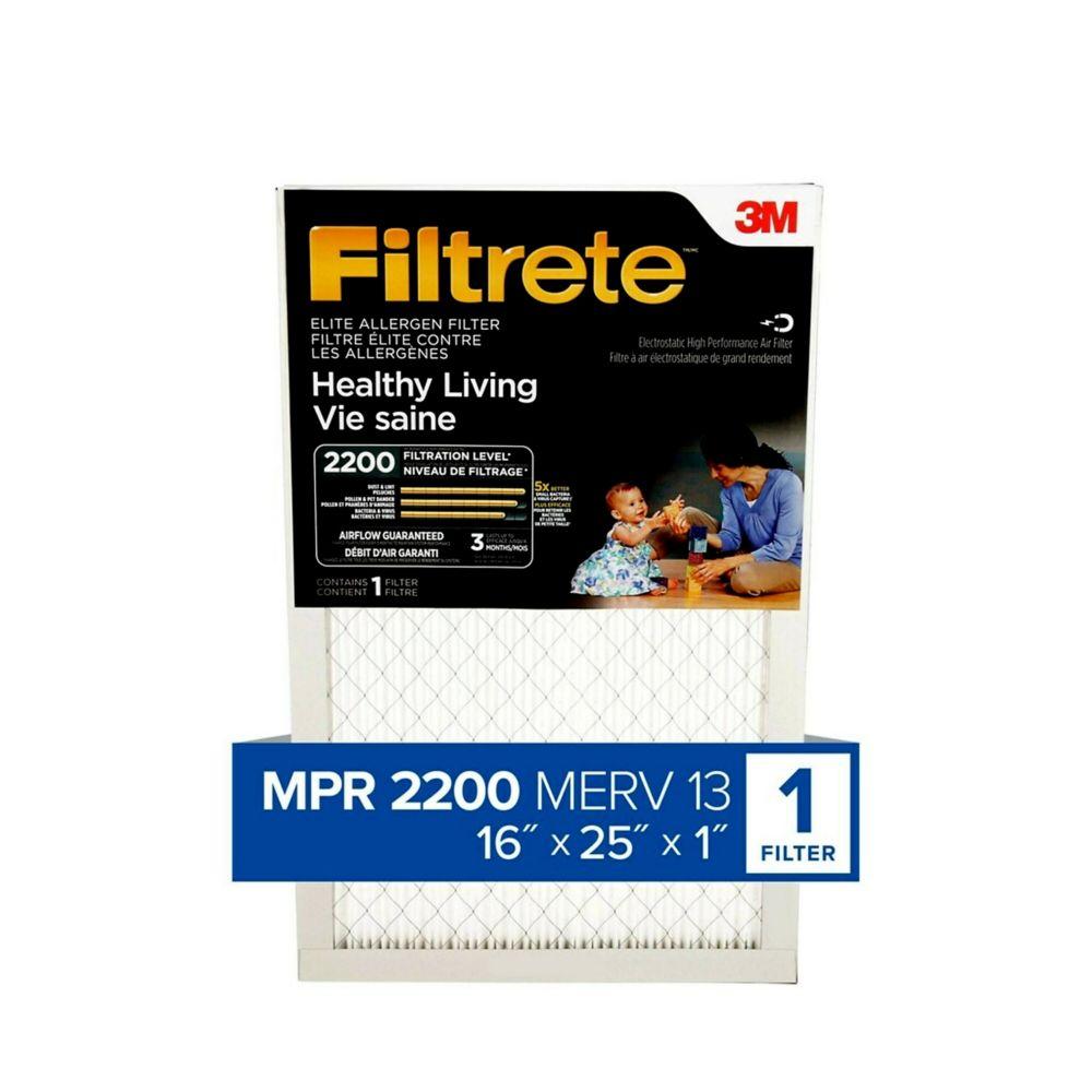 Filtre élite pour un habitat sain FiltreteMC avec élimination des allergènes, PR 2200, EA01DC-6-C...