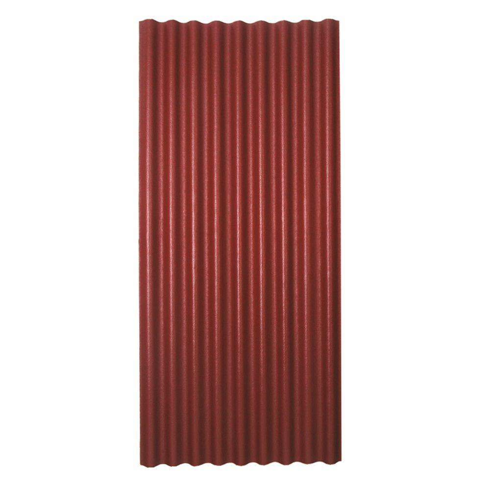 Panneau de toiture asphaltée ondulée rouge 36 po x 79 po