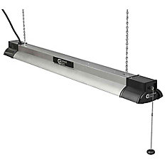 40-inch LED Shop Light  in Brushed Nickel with Bluetooth Speakers