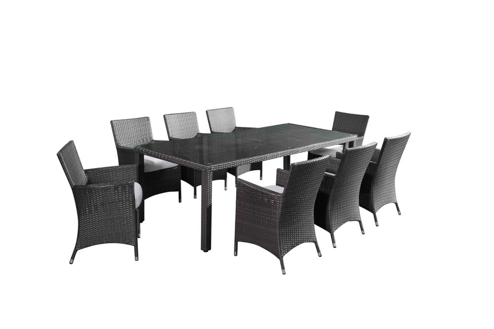 Velago Chiasso 9-Piece All-Weather Wicker Outdoor Patio Dining Set with White Cushions
