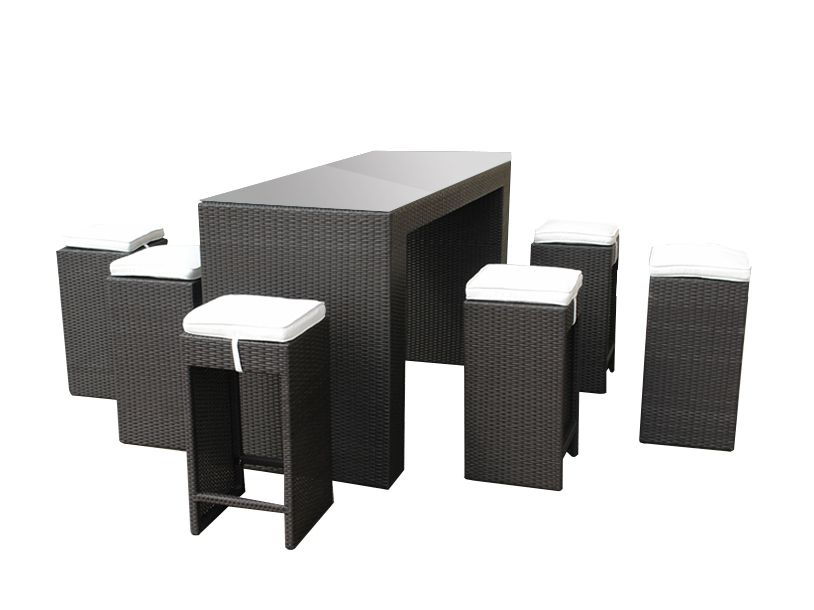 Outdoor Bar Set - Resin Wicker Table with 6 Stools - VERONA