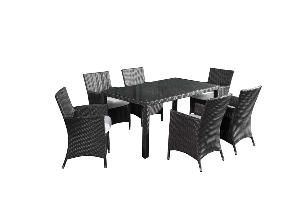 Wicker Outdoor Dining Set for 6 - Patio Table with Chairs - Italy160