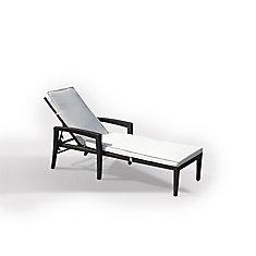 Transat en rotin - chaise longue avec coussin beige - Perugia