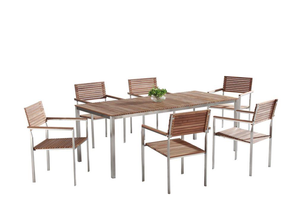 Modern Outdoor Dining Set for 6 - Teak & Stainless Steel - VIAREGGIO