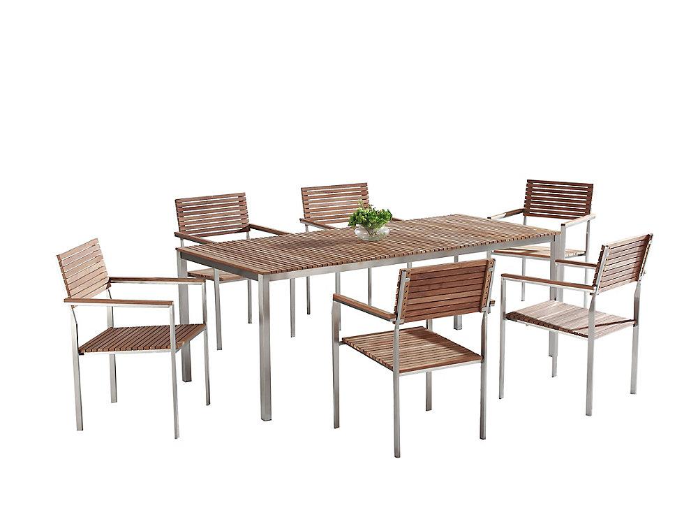 Table de jardin acier inox - plateau teck 200 cm et 6 chaises - Viareggio