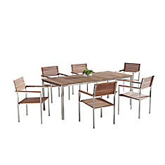 Modern Outdoor Dining Set for 6 - Teak & Stainless Steel - VITALE