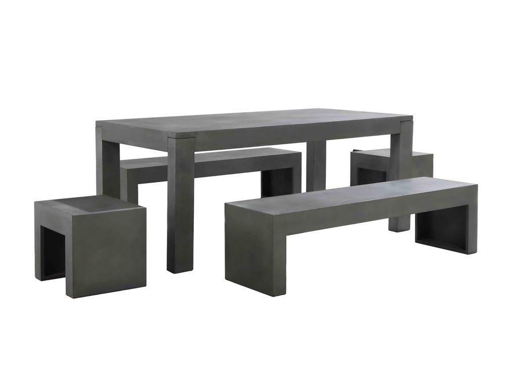 Table en béton 180 cm - 2 bancs et 2 tabourets en béton - Taranto