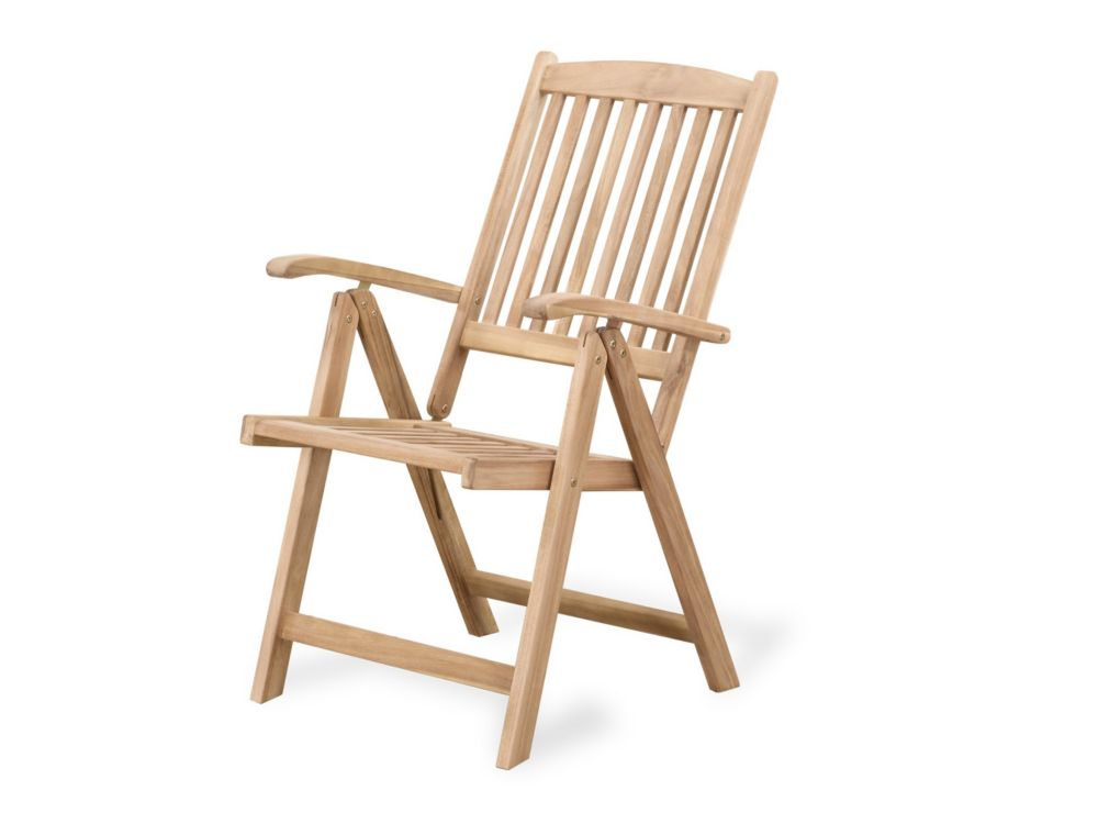 Teak Style Outdoor Dining Chair with Adjustable Backrest - RIVIERA