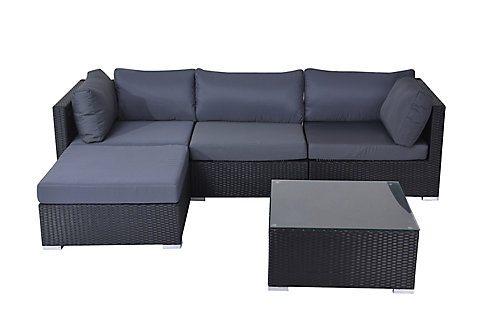 Velago Savosa 5-Piece All-Weather Wicker Patio Sectional Set with ...